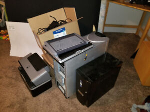 Computer cases, cords, fans, coolers, printer, scanner