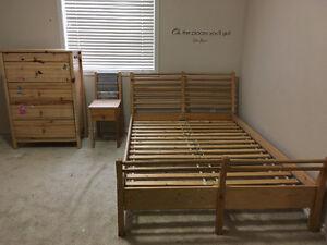 Queen Bed Frame, Dresser & Side Table