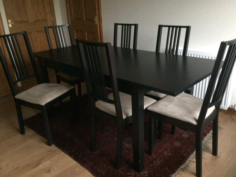 Ikea Table With 6 Chairs Black Brown In Nairn Highland Gumtree