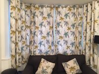 2 pairs of Dunelm curtains & two matching cushions
