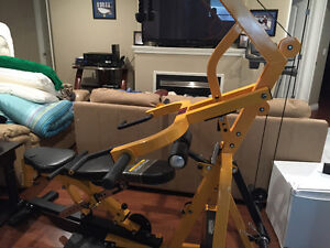 Powered lever workout bench