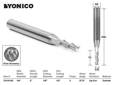18 Dia. Upcut Spiral End Mill Cnc Router Bit - 14 Shank - Yonico 31310-sc