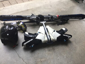 Men's size 8 downhill skis, boots and poles