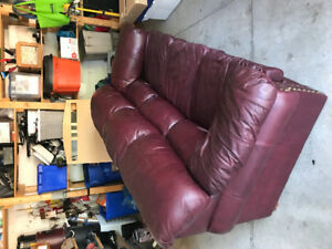 Burgundy Leather Couch