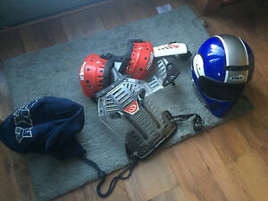 Youth size large helmet and chest protector