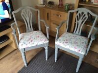 Two shabby chic carver chairs