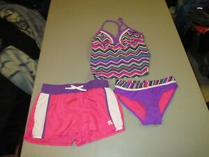 Girls Orchird Zero Xposur 3 Piece Swimsuit Size 10 New