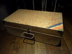 old WOODEN SUITCASE TOOLBOX man cave INDUSTRIAL upcycle SHABBY