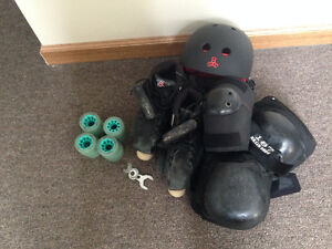 Size 5 roller skates with safety gear