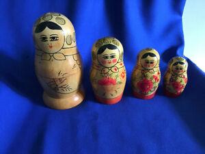 4 Vintage Russian Nesting Dolls