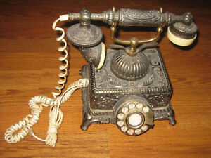 Vintage French Victorian Style Brass Rotary Phone