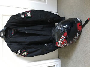Motorcycle helmets and jackets