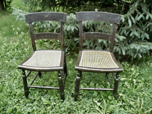 2 ANTIQUE 19TH CENTURY STENCIL BACK COUNTRY CHAIRS