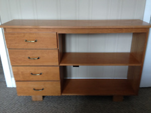 Solid wood bookcase with three drawers