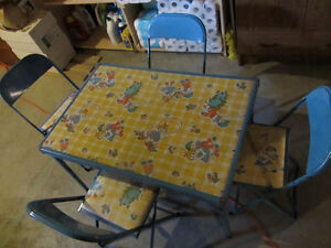 Vintage Raggedy Ann & Andy Folding Table & Chairs Set