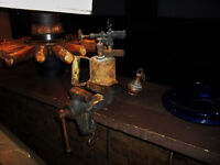 Vintage clamp bullet style sealed vise, blowtorch copper weight