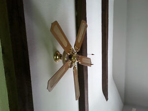 """Brass and wood ceiling fan 44"""""""