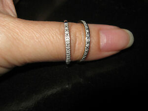 2 NEW 10K Yellow and White Gold Diamond Bands-stackable