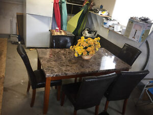 Marble look Top Table and 6 chairs