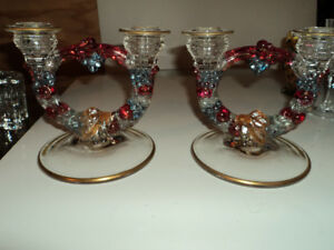 Antique Austrian Glass Candle Holders