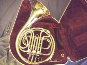 F.E. OLDS & SONS NICKLE PLATED FRENCH HORN  (trades?)