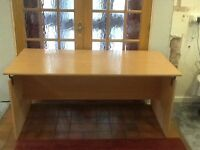 Large office desk Wooden Beech colour - Good condition Delivery available locally- Telford