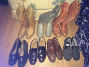 3 Cowboy Boots, 2 Pairs of Dress Shoes, Raincovers, New Slippers