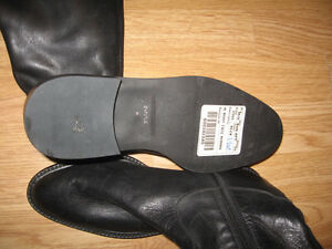 Ladies Black Leather Riding Boots - Size 6