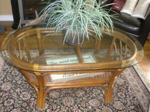 Home decor, PIER 1 Glass top coffee rattan table