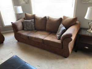 Couch and loveseat sets, kitchen table, coffee tables, Papasan
