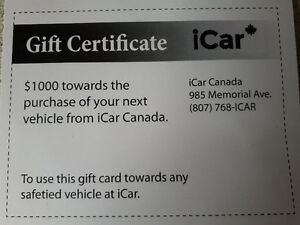 1000.00  gift certificate