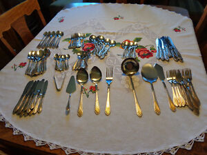 12 place setting of stainless steel flatware