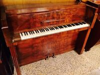 Beautiful British Art Deco Walnut Upright Piano ALL UK DELIVERY