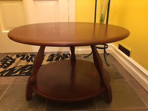 Thick Solid Wood Round Coffee Table.