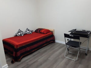 Furnished room for rent (new floor/paint/appliances)