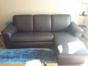 Fairly new real leather black couch with chaise