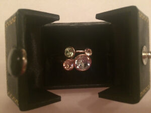 One of a kind -Swarovski Triple Band Bezel Cut Crystal Rings!