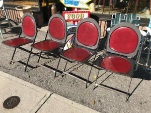 Vintage Art Deco Folding metal Chairs Industrial 7 available