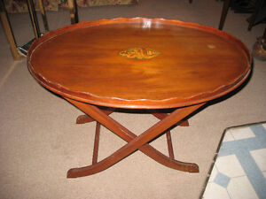VINTAGE INLAID TEA TRAY w/ FOLDING LEGS  NICE!