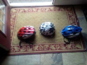 3 Monegoose helmets. 1 kids medium. Two adults small/medium