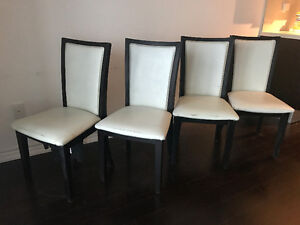 USED Creme Leather Dining Chair - sold in pairs / max of 4