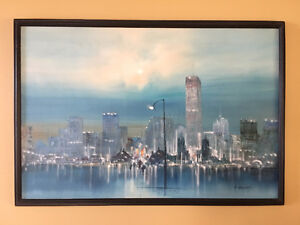 Gallery Oil Painting with Wood Frame ; authentic