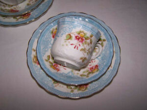 Victorian England, Brownfields Porcelain, 15 Pc. Cups, Saucers +