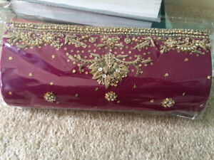 Brand new! Formal clutch with gold antique embroidery