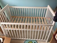 John Lewis Eric cot never used in great cond plus Mothercare mobile and top cot changing table