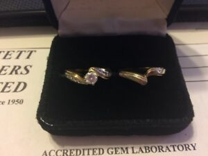 Ladies yellow and whiet gold diamond engagement ring set