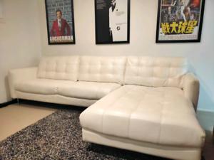 White Leather Entertaining Chase Lounge Sofa