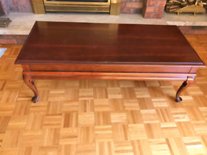 Like New Solid Cherry Wood Coffee Table Set
