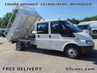 2005 05 FORD TRANSIT CREW CAB TIPPER, DROPSIDE, ONE COUNCIL OWNER *57000 MILES
