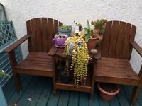Garden seat with table